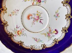 Antique Coalport Hand Painted Cup And Saucer Cobalt Blue Multicolored Flowers