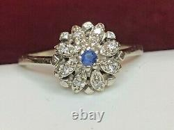 Antique Estate 14k Gold White Natural Diamond & Blue Sapphire Ring Engagement