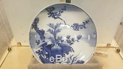 Antique Imari Blue And White Porcelain Flower Pattern Plate