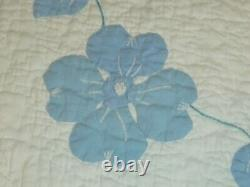 Antique Quilt Hand Applique Embroidery Flowers hand quilted Blue White
