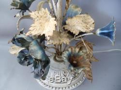 Antique Shabby Rusty Vtg Chic Italian Metal Tole White & Blue Flowers Table Lamp