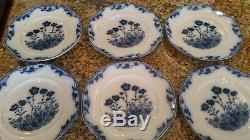 Antique Stafford J&G Meakin England Blue White Octogon Plate Flowers