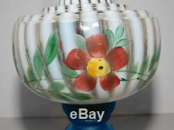 Antique White Opalescent Oil Lamp Blue Base Hand Painted Flowers