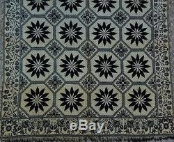 Antique Wool Natural White Indigo Blue Dated 1854 Leaf Flower Star Coverlet
