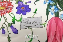 Authentic Gucci 100% Silk Scarf Shawl Floral Flower Botanical White Navy Blue