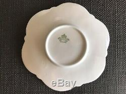 Aynsley Blue and White Flower Handle Bone China Footed Tea Cup Saucer, Paragon