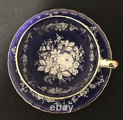Aynsley Raised White Flowers on Cobalt Blue Cup and Saucer / Teacup