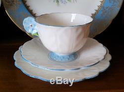 Aynsley White And Blue Flower Handled Cup, Saucer, Plate