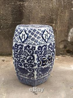 Miraculous Blue White Flowers Hexagon Chinese Garden Stool Ceramic Gamerscity Chair Design For Home Gamerscityorg
