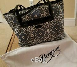 BRIGHTON CAMBRIA blue white RED embroidered flower LARGE purse TOTE bag