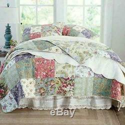 Beautiful Cozy Patchwork Country Cottage Pink Flower Rose Green Blue Quilt Set