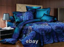 Blue Roses Bedding Product Duvet Cover Set or Matching White Comforter or Both