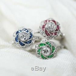 Blue Sapphire Diamond Platinum Flower Ring Floral Natural Handmade Cocktail 1.10