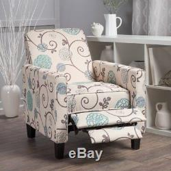 Blue White Floral Fabric Recliner Club Chair Home Furniture