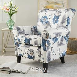 Blue & White Floral Pattern Modern Fabric Club Chair Lounge Living Room Bedroom