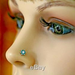Blue & White Natural 7 Diamonds Flower Nose Lip Labret Piercing Screw Ring Stud