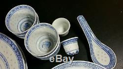 Blue White Rice Pattern Porcelain Chinese Flower Service For 2-vintage (s17)