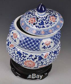 Blue and white porcelain vase pot jar painted flowers free shipping for ebayers