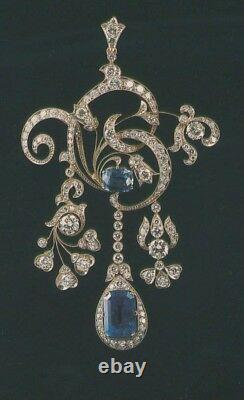 Blue vintage style pendant statement solid 925 sterling silver handmade