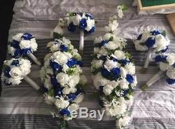 Brides posy bouquet white blue artificial roses, Wedding flowers package