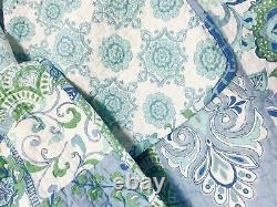 Calypso Bay Patchwork Floral Aqua Turquoise Blue Green White King Quilt Set
