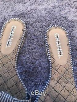 Chanel Camellia Blue White Striped Flower Slip On Flats Sandals-37- Authentic