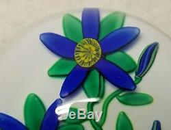Charles Kaziun III Blue Double Blue Flowers and Buds on White Ground Paperweight