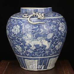 China antique Porcelain Ming jiajing blue white lion flower double ear pot