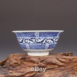 China antique Porcelain Ming xuande Blue & white Hand painting flower bowl