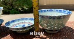 Chinese Antique Blue And White Porcelain Tea Cup With Famille Rose Flowers Pair