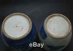 Chinese Old Pair Blue and White Flower and Bird Porcelain Wax Gourd Pots