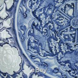 Chinese Yuan Blue&white Phoenix flowers peony Porcelain plate