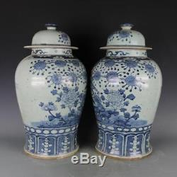Chinese antique handicraft porcelain Blue and white Flower and bird tank A pair