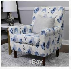 Coastal Blue Upholstery Accent Chair Living Room Floral Club Fabric Print White