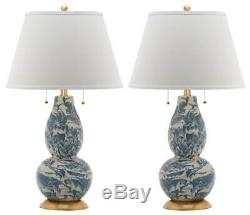 Color Swirls Table Lamp in Blue and White Set of 2 ID 3753317