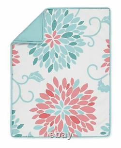 Coral Turquoise Emma Floral Baby Girl 5pc Nursery Crib Bedding Set by Sweet Jojo