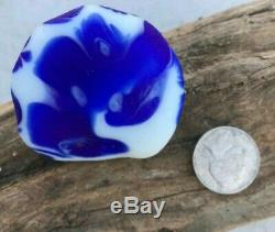 Davenport GENUINE Sea Glass -Blue White Flower Santa Cruz Lundberg (EB09)