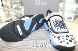 Dior White&Blue Stretch Fabric Fusion Embellished Low Top Strap Sneakers-Sz 39,5