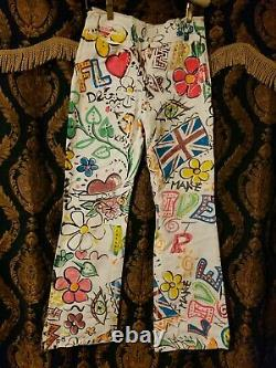 Dolce & Gabbana runway rare Unique Style Flower denim jean. 29/43R made in Italy