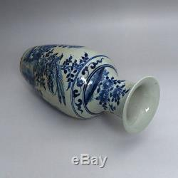 Exquisite Pair Of Chinese Blue And White Porcelain Vases Flower Birds Painting