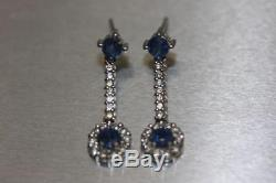 Fine 14K White Gold Blue Sapphire Diamonds Cluster Flower Dangle Drop Earrings