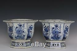 Fine Beautiful Pair Blue and White Chinese Porcelain Immortals Kylin Flower Pots