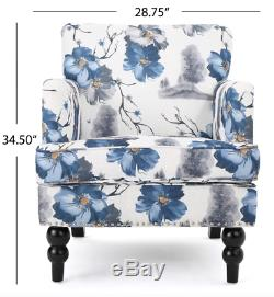 Flower Armchair Accent Chair Floral Print Living Room Bedroom Fabric Blue White