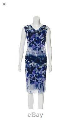 Fuzzi Dress Size S Sleeveless Printed Dress Mesh Floral Flower Blue White