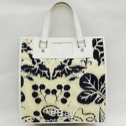 GUCCI Flower Nylon Leather Blue White Tote Bag Handbag Free Shipping Used