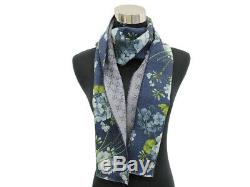 GUCCI Scarf Wool Blue White Green Flower Reversible Stole Authentic 5423309
