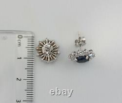 Gorgeous 18K White Gold 3.1ct Natural Diamonds and Sapphire Flower Stud Earrings