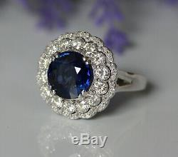 Gorgeous 18K White Gold 6.22ct Sapphire And Natural Diamond Luxury Cocktail Ring