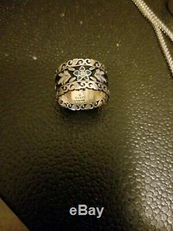 Gucci Silver Icon Blooms Ring Blue, White, Black Flower Patern Size 9