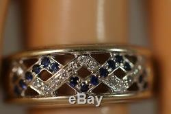 Heavy Vintage 18k White Gold Sapphire Diamond Art Deco Victorian Flower Ring